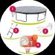 Trampoline 370cm avec panier de basket