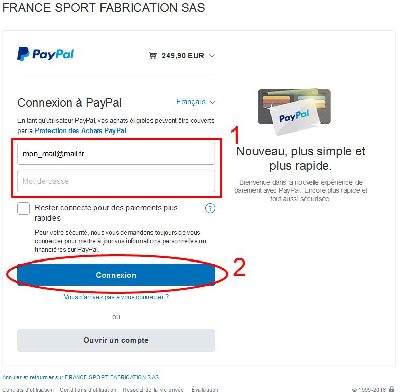 Connexion PayPal